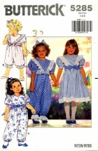 Butterick 5285 Girls Dress Jumpsuit Headband Size 1 - 2 - 3