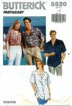 Butterick 5520 Unisex Shirt Bust / Chest 42 - 48