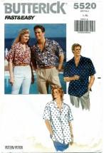 Butterick 5520 Unisex Shirt Bust / Chest 42 - 48