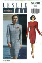 Butterick 5630 Fitted Straight Dress Size 6 - 10 - Bust 30 1/2 - 32 1/2