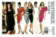 Butterick 5849 Fitted Straight Dress Size 6 - 10 - Bust 30 1/2 - 32 1/2