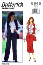 Butterick 6945 Sewing Pattern Misses Vest Blouse Skirt Pants Size 18 - 20 - 22