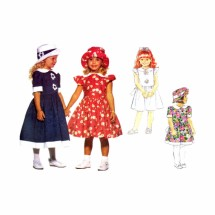 Little Girls Dress and Hat Butterick 3270 Vintage Sewing Pattern Size 2 - 3 - 4