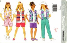 Butterick 3871 Sewing Pattern Girls Tops Skirt Shorts Pants Size 7 - 10
