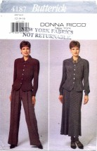 Butterick 4187 Donna Ricco Top Skirt Pants Size 12 - 16 - Bust 34 - 38
