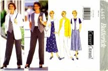 Butterick 4345 Jacket Top Vest Jumper Pants Size 12 - 16