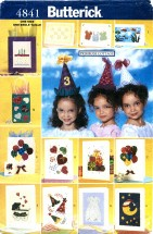 Butterick 4841 Crafts No-Sew Party Cards Bags Hats