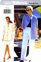 Butterick 4866 Sewing Pattern Shirt Skirt Pants Size 8 - 10 - 12