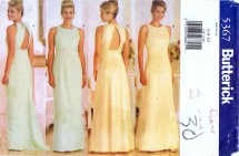 Butterick 5367 Sewing Pattern Misses Evening Prom Dress Gown Scarf Size 6 - 8 - 10