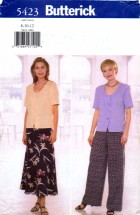 Butterick 5423 Sewing Pattern Misses Top Skirt Pants Size 8 - 10 - 12