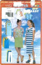Butterick 5502 GirlsTop Dress Skirt Pants Size 7 - 10