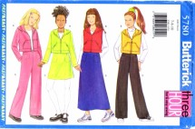Butterick 5780 Sewing Pattern Girls Top Vest Skirt Pants Size 7 - 8 - 10