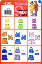Butterick 6101 Sewing Pattern Girls Top Skirt Shorts Size 6 - 7 - 8