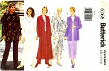 Butterick 6268 Jacket Duster Skirt Pants Size 8 - 12 - Bust 31 1/2 - 34