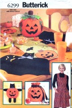 Butterick 6299 Sewing Pattern Halloween Table Runner Placemats Apron