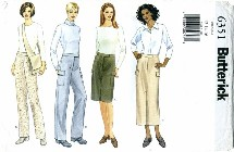 Butterick 6351 Skirt Pants Bag Size 12 - 16 - Waist 26 1/2 - 30