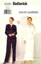 Butterick 6390 David Warren Jacket Skirt Pants Size 20 - 24 - Bust 42 - 46