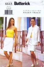 Butterick 6643 Sewing Pattern Ellen Tracy Full Figure Jacket Top Skirt Size 18 - 20 - 22