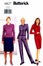 Butterick 6827 Jacket Skirt Pants Suit Size 18 - 22 - Bust 40 - 44