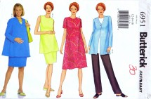 Butterick 6951 Sewing Pattern Maternity Jacket Dress Tunic Skirt Pants Size 12 - 14 - 16