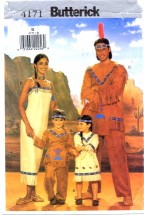 Butterick 4171 Childrens Indian Costumes Size 2 - 6X