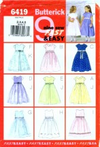 Butterick 6419 Sewing Pattern Girls Dress & Overskirt Size 2 - 3 - 4 - 5