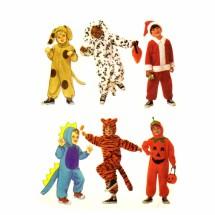 Dog Dalmation Santa Claus Dragon Tiger Pumpkin Halloween Costumes Butterick 6695 Sewing Pattern Size 1 thru 6