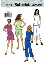 Butterick 3534 Misses Top Pants Shorts Size 20 - 24
