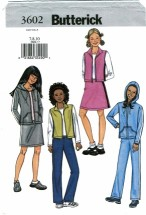 Butterick 3602 Girls Jacket Vest Skirt Pants Size 7 - 10