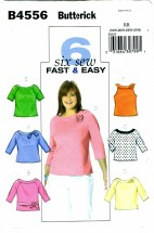 Butterick 4556 Misses Easy Tops Plus Size 18 - 24