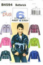Butterick 4594 Girls Jackets Size 7 - 14