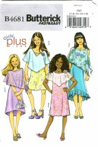 Butterick 4681Girls Poncho & Dress Size 7 - 14