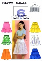 Butterick 4722 Sewing Pattern Girls Skirts Tiers Ruffles Size 12 - 14 - 16