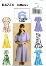 Butterick 4724 Misses Cover-Up Dress & Sash Size 8 - 14