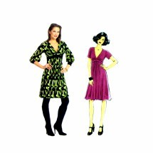 Misses Front Pleated Midriff Dress Butterick 5242 Sewing Pattern Size 8 thru 14