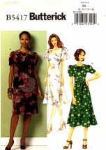 Butterick 5417 Sewing Pattern Misses Dress Pleats Flared Tucks Size 8 - 14
