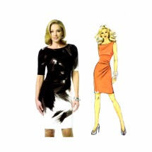 Close Fitting Draped Effect Dress Butterick 5672 Sewing Pattern Size 8 thru 16