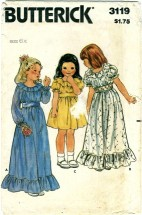 Butterick 3119 Girls Long or Short Ruffled Dress Size 6X