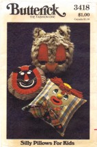 Butterick 3418 Sewing Pattern Silly Clown Lion Owl Pillows for Kids