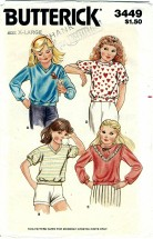 Butterick 3449 Girls Tops Size 6X - Breast 25 1/2