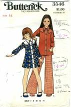 Butterick 3546 Girls Dress Top Pants Size 14