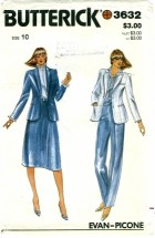 Butterick 3632 EVAN-PICONE Misses Jacket Skirt Pants Size 10