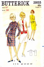 Butterick 3955 Shirt-Shift Dress Size 12 - Bust 32