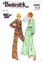 Butterick 3961 Vintage Sewing Pattern Top Skirt Flared Pants Size 10 Bust 32 1/2