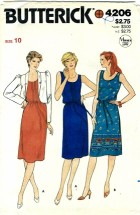 Butterick 4206 Misses Jacket Dress Belt Size 10 - Bust 32 1/2