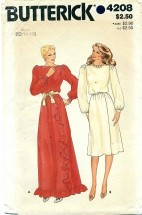 Butterick 4208 Long or Short Mock Wrap Dress Size 12 - 16