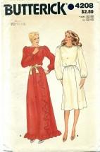 Butterick 4208 Long or Short Mock Wrap Dress Size 12 - 16