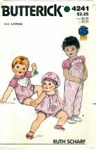Butterick 4241 Infants Top Jumper Panties Hat Jumpsuit Size Large