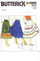 Butterick 4260 Boho Tiered Skirts Size 14 - Waist 28