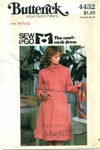 Butterick 4432 SEW & GO Cowl Neck Dress Size 6